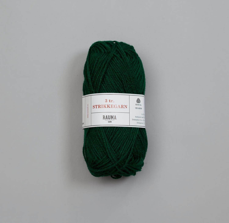 3-TRÅDS STRIKKEGARN Dyp Grønn 123