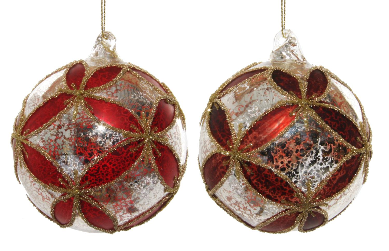 ShiShi Glassball Sølv/Gull/Rød 8cm