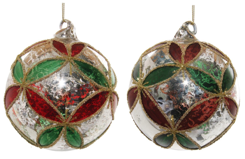 ShiShi Glassball Sølv/Grønn/Rød 10cm