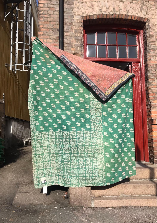 Sissel Edelbo Cotton Sari Vintage Blanket Grønn
