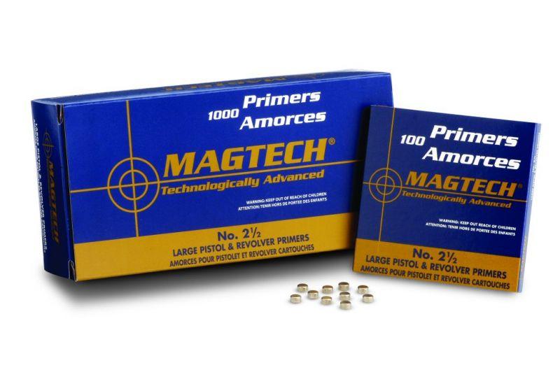 MagTech Large Pistol No. 2 1/2 tennhetter, 100 pakning