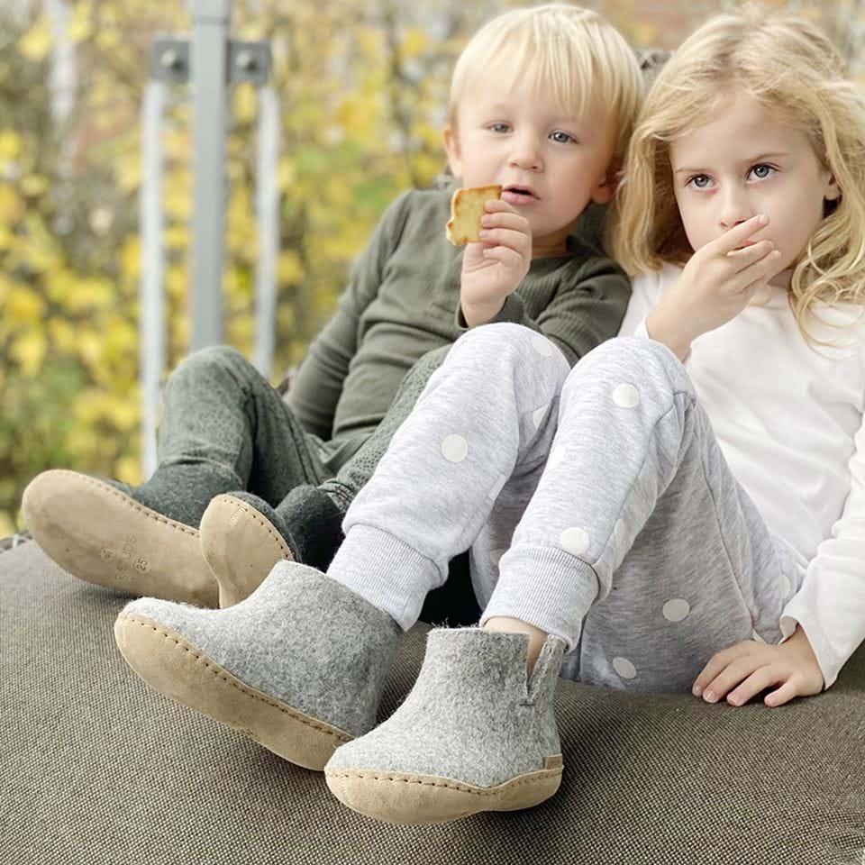 Glerups Støvel junior i ull med lærsåle