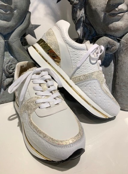 Bibba sneakers hvit m/gulldetaljer
