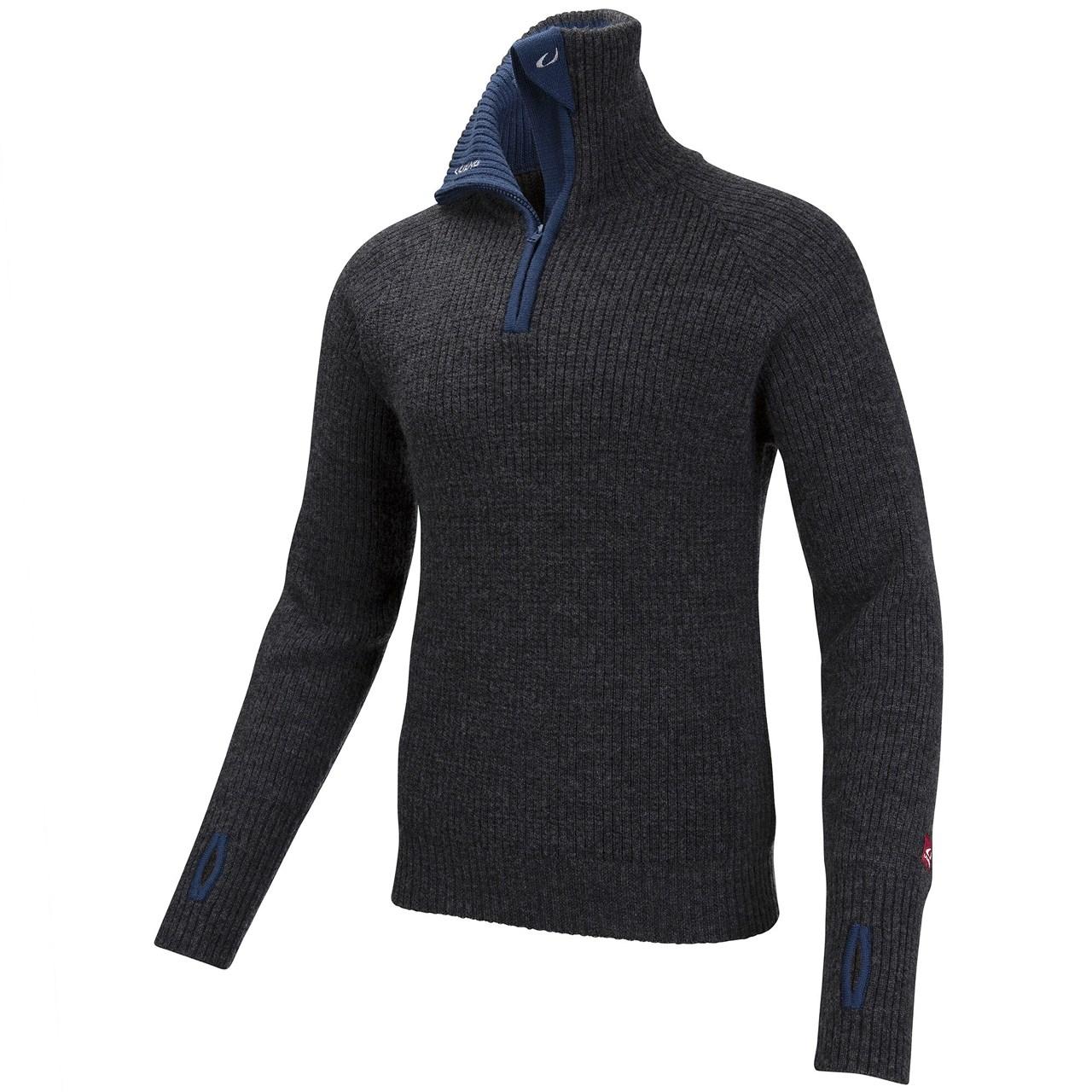 Ulvang Rav sweater w/zip Charcoal Melange/Mid Blue