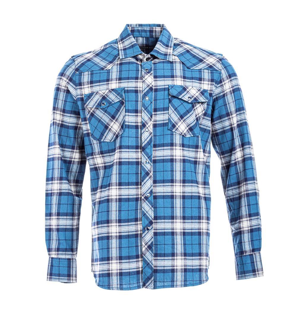 Move on Bagn flanellskjorte blå