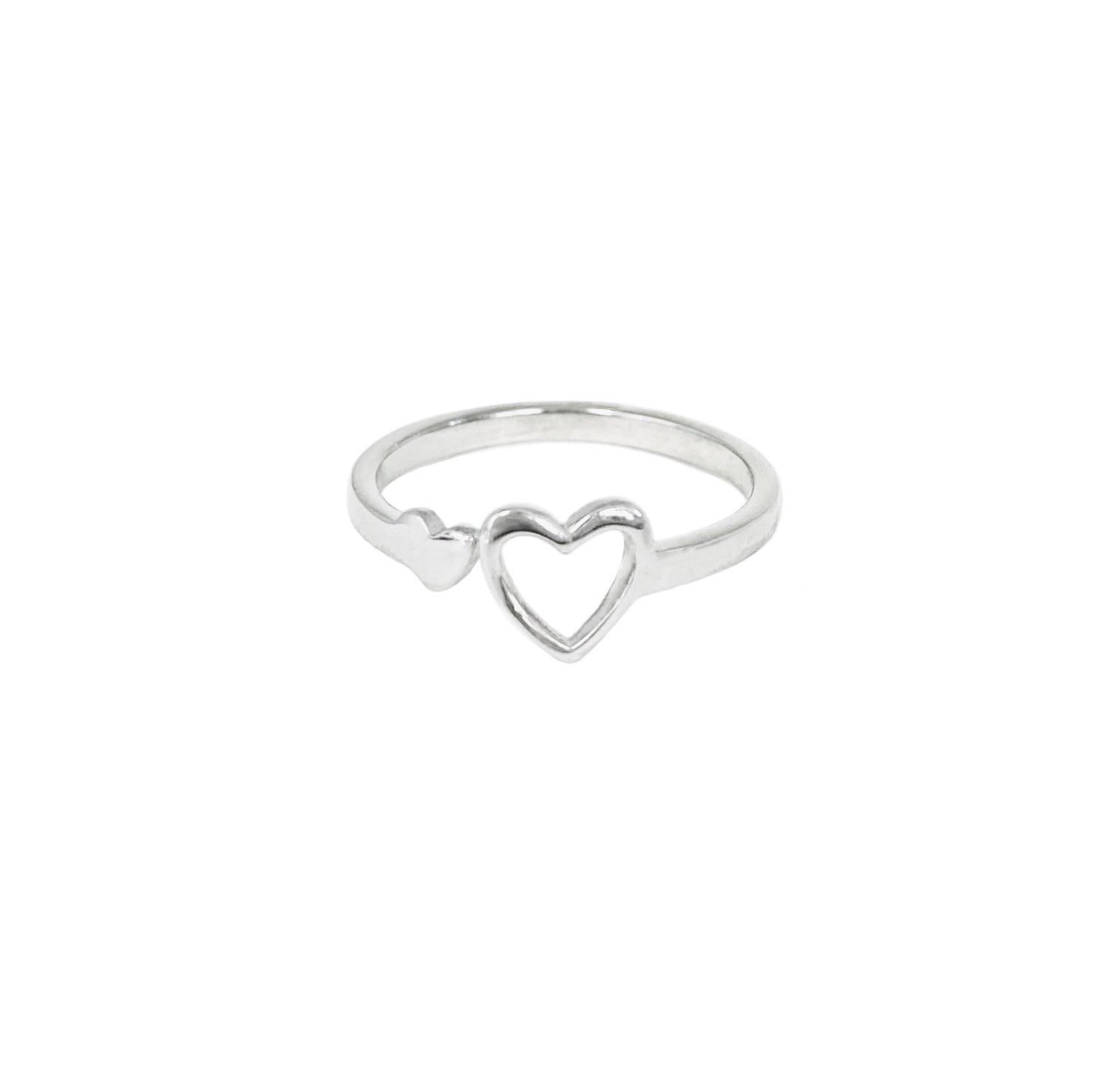 Miracle Heart Ring Silvertoned Brass