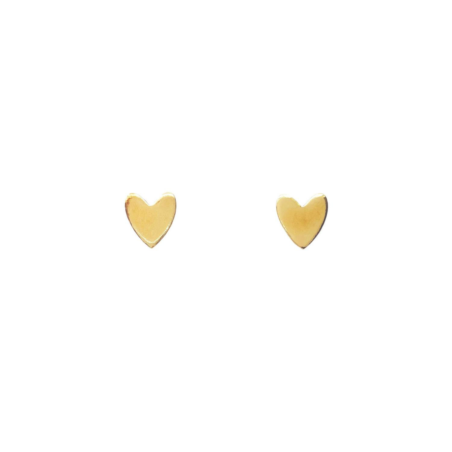 Miracle Heart Stud Goldtoned Brass