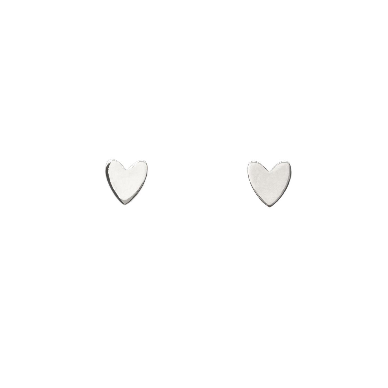 Miracle Heart Stud Silvertoned Brass