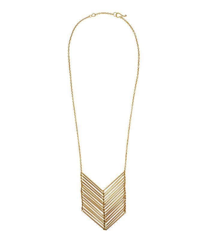 Chevron Necklace Goldtoned Brass