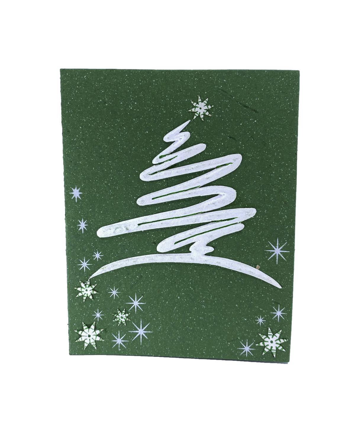 Elecosy christmas greeting card White tree