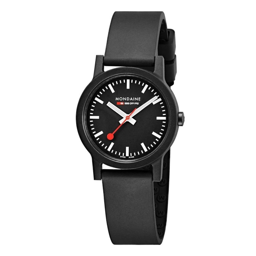 Mondaine Essence 32 black dial black strap