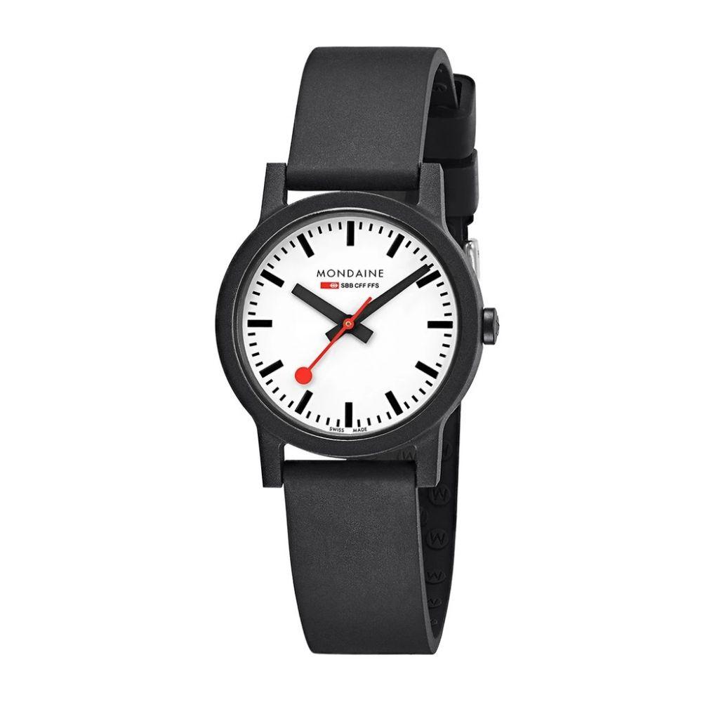 Mondaine Essence 32 white dial black strap