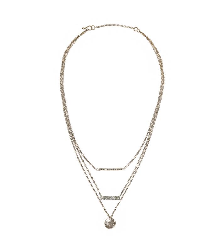Harmony Necklace Silvertoned Brass