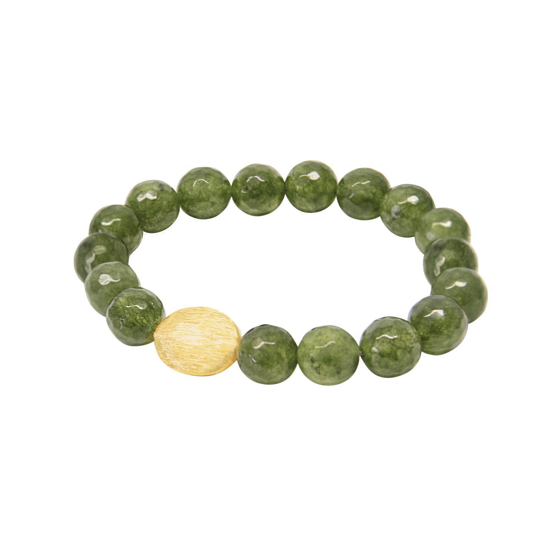 Expression Bracelet Green Stones Goldtoned Brass