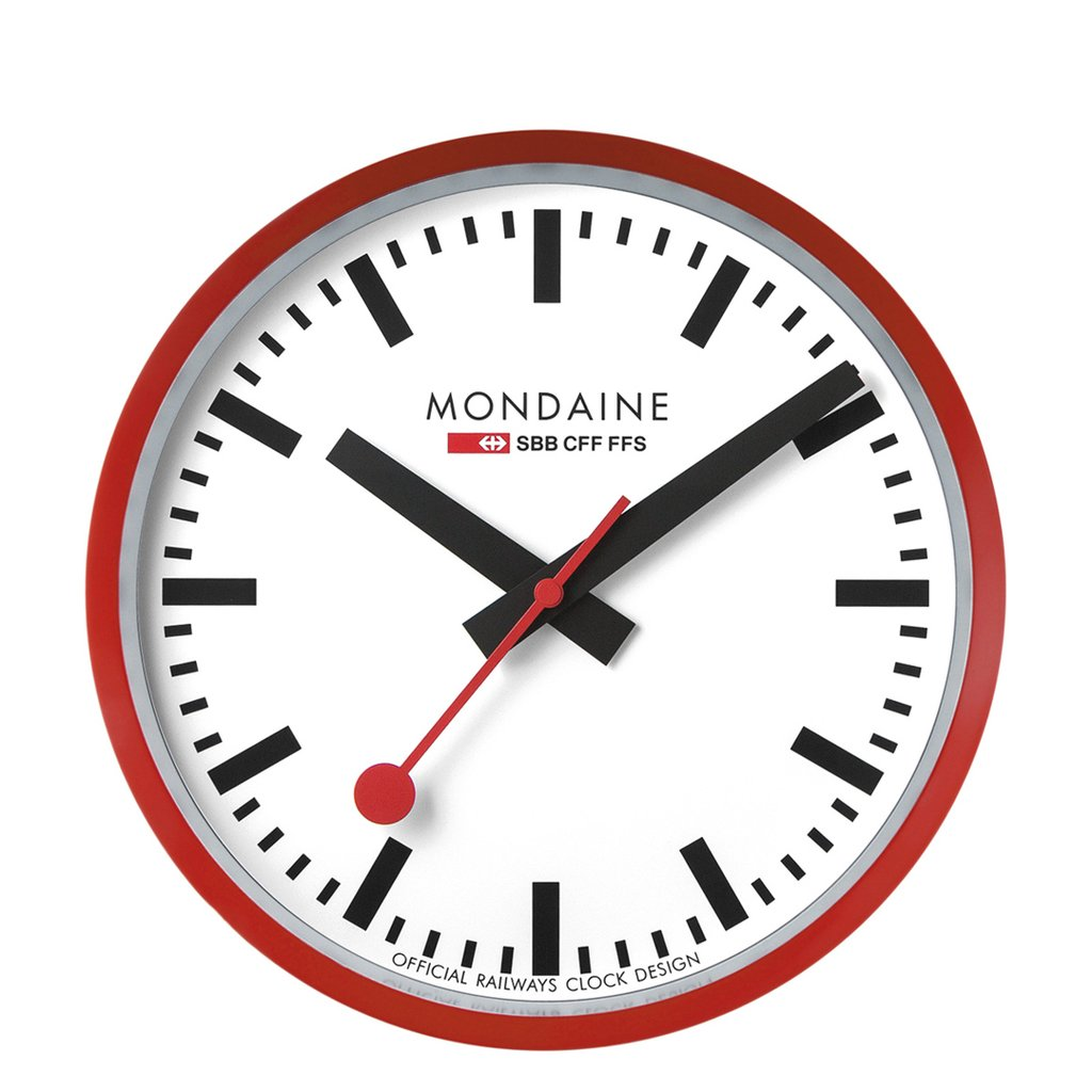 Mondaine Wall Clock 25 cm Red