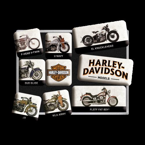 Harley-Davidson model chart magnetsett 9stk