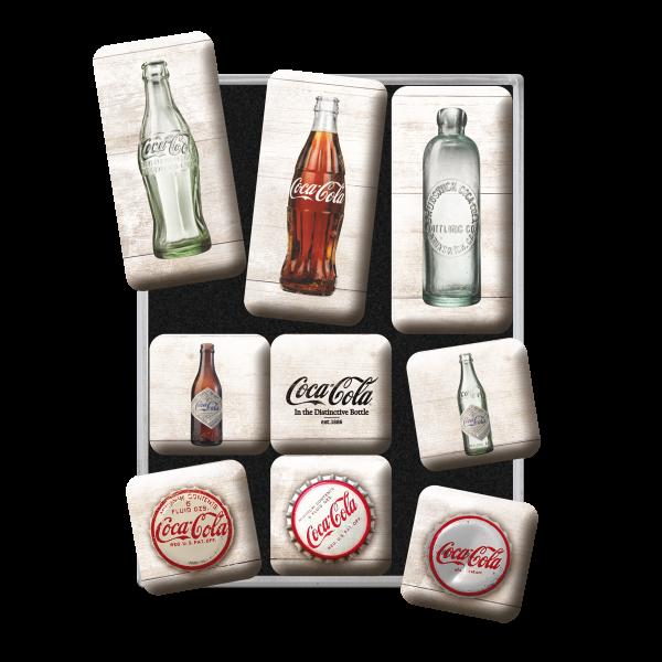 Coca-Cola Bottle Timeline Magnetsett 9stk