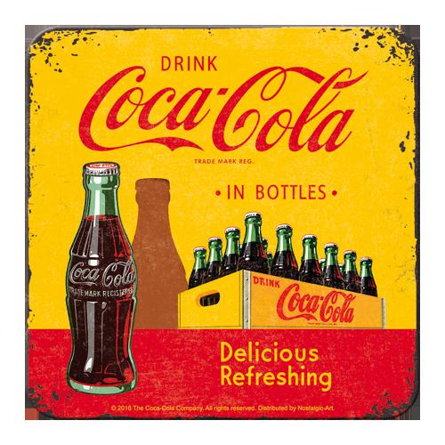 Coca-Cola In Bottles Yellow Coaster