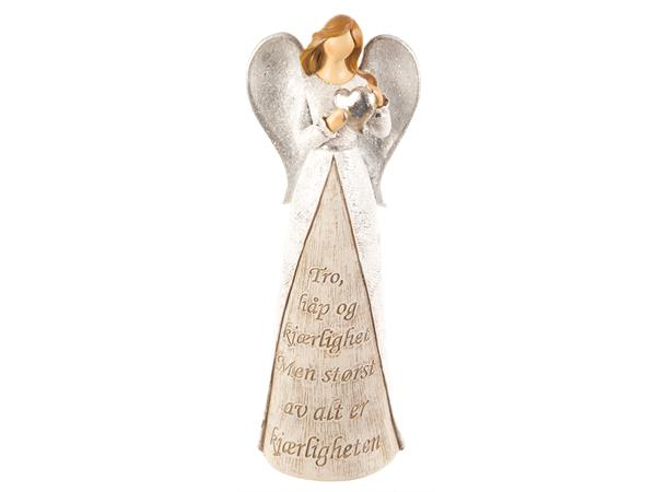 Engel hvit m/hjerte Tro, håp og kjærlighet 28cm