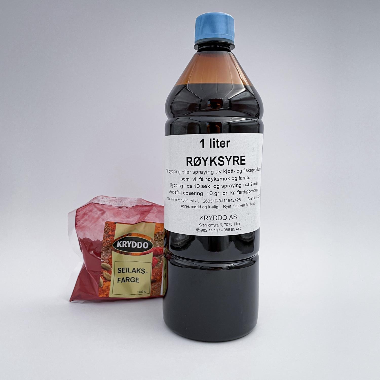 Seilakspakke med 100 gram seilaksfarge og 1 liter røyksyre