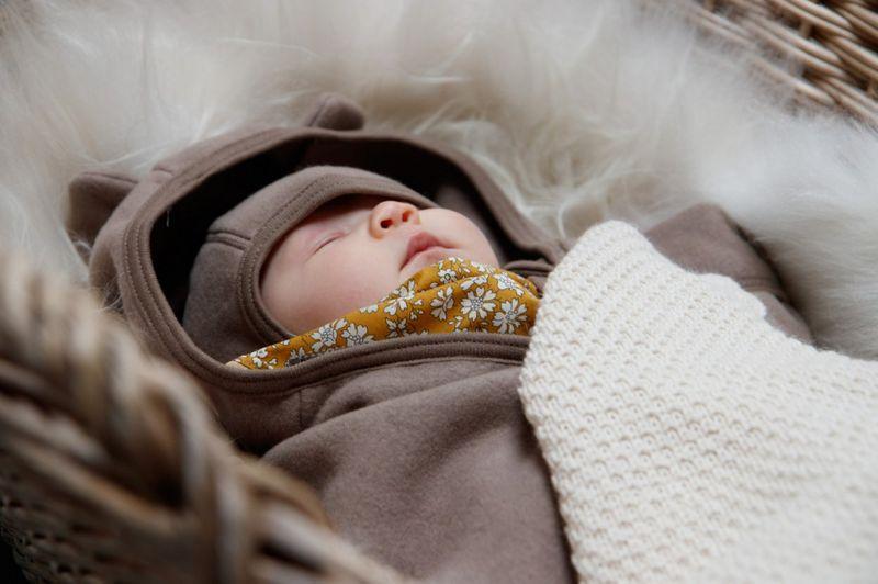 HUTTELIHUT - ALLIE Babysuit w/ears cotton fleece Nougat(84)