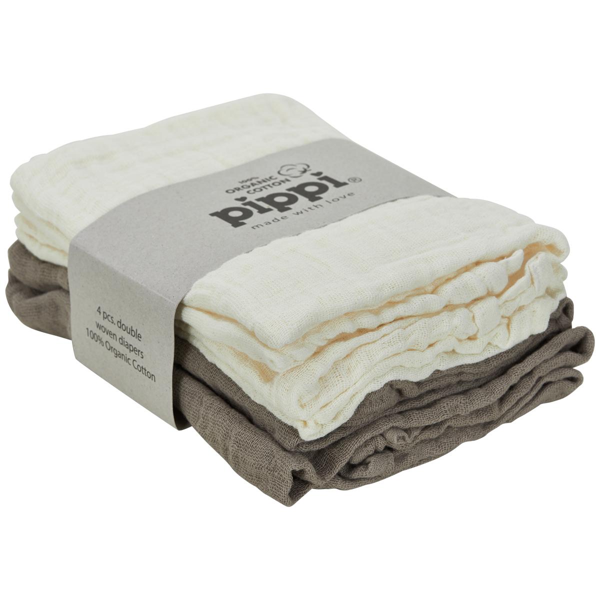 Muslin Kluter 4 pack, Hvit/Brun