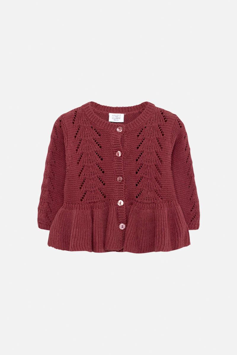 Cardigan strikket, Burgunder