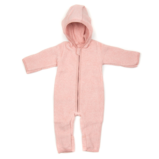 ALLIE BABYSUIT COTTON FLEECE, DUSTY ROSE