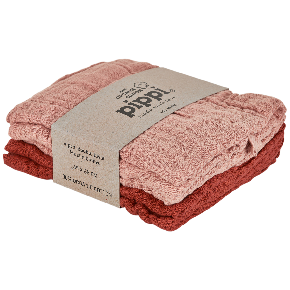 Muslin Kluter 4 pack, Rød/Rosa