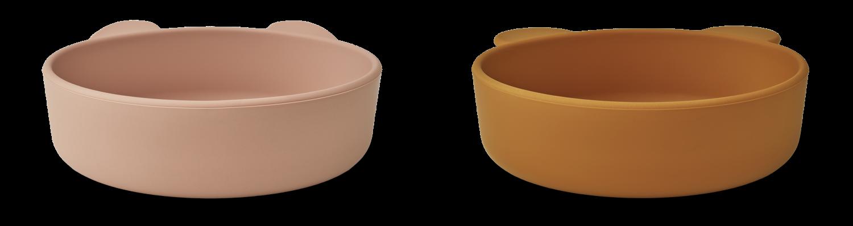Liewood Vanessa bowl 2-pack - Dark rose/mustard mix
