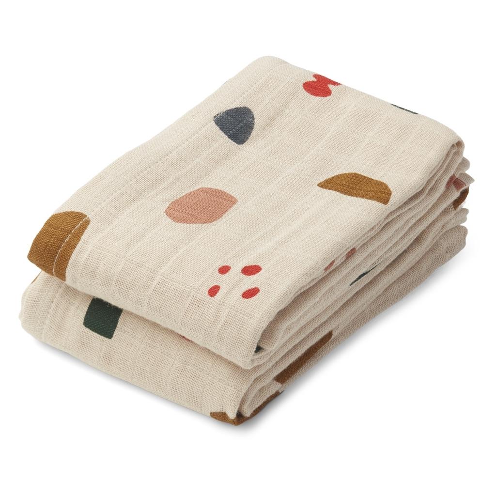 Liewood Lewis Muslin Cloth 2 Pack, Geometric foggy mix