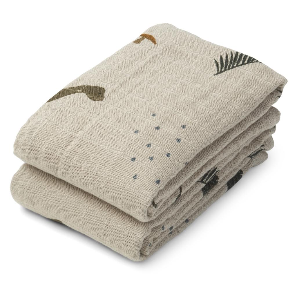 Liewood Lewis muslin cloth 2-pac, Dino dark sandy mix