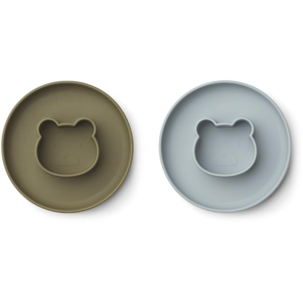 Liewood Gordon plate 2-pac, Mr bear blue fog/khaki mix