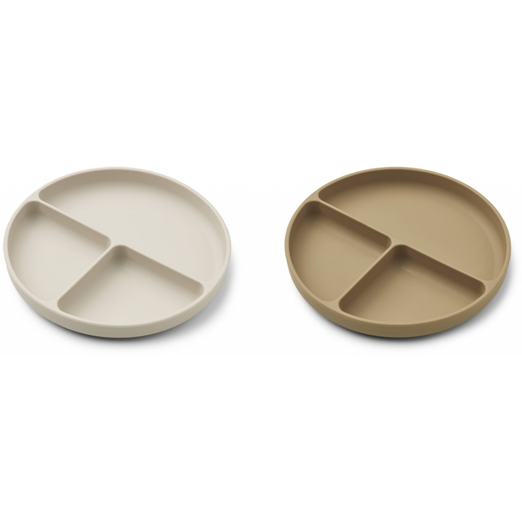 Liewood Divider plate 2-pack, Sandy/oat mix