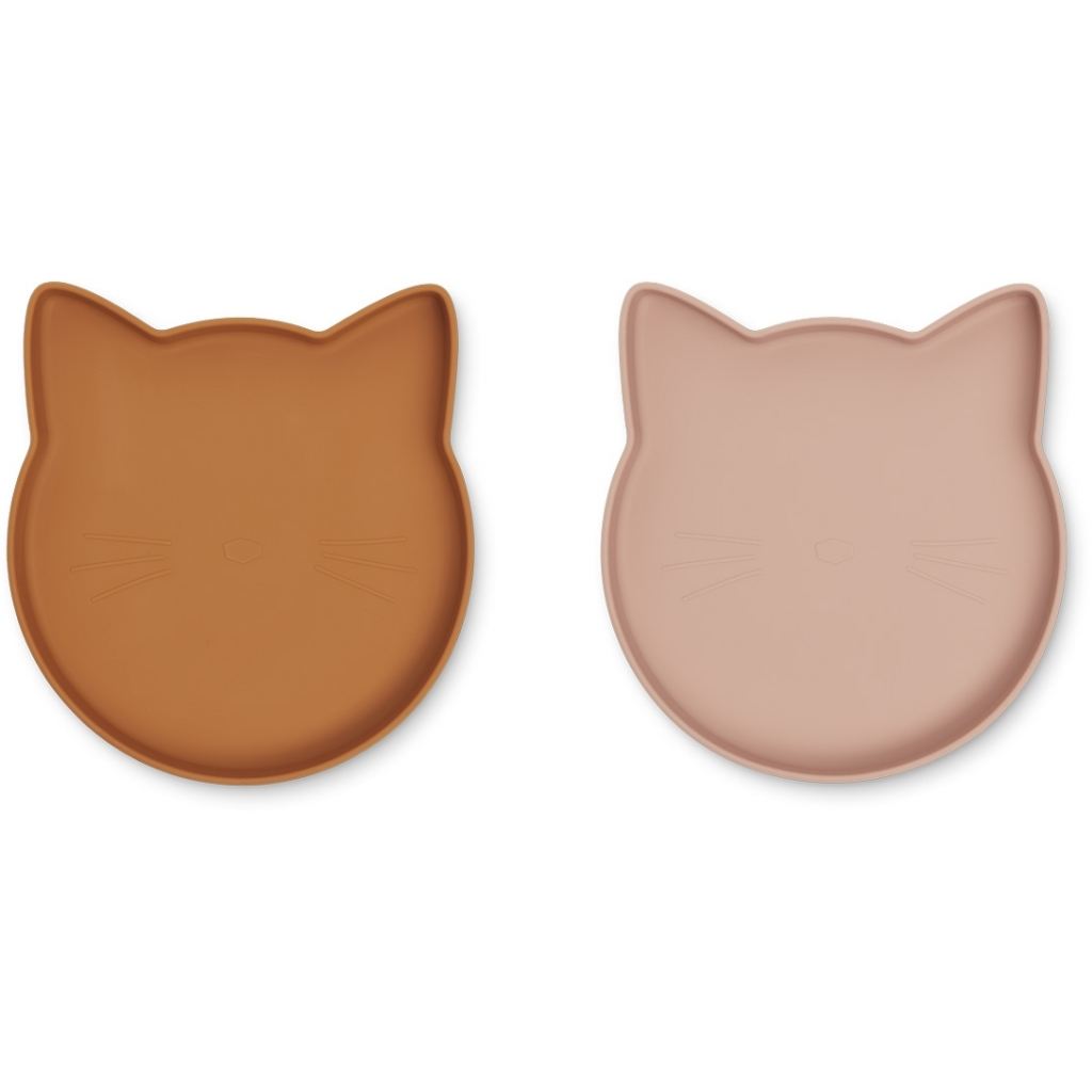 Liewood Marty plate 2-pack, Cat mustard/dark rose mix