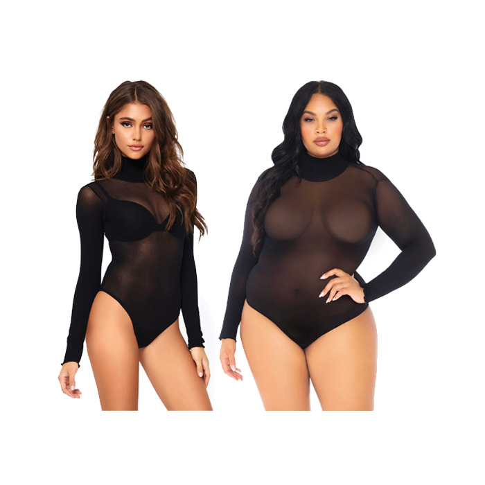 Sort Nylon Bodysuit Høy Hals LegAvenue