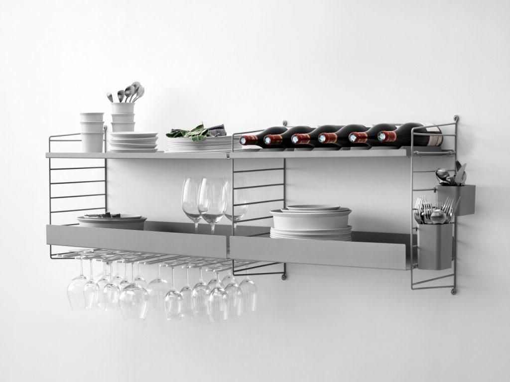 Lekker og plassbesparende oppbevaring på kjøkkenet string system