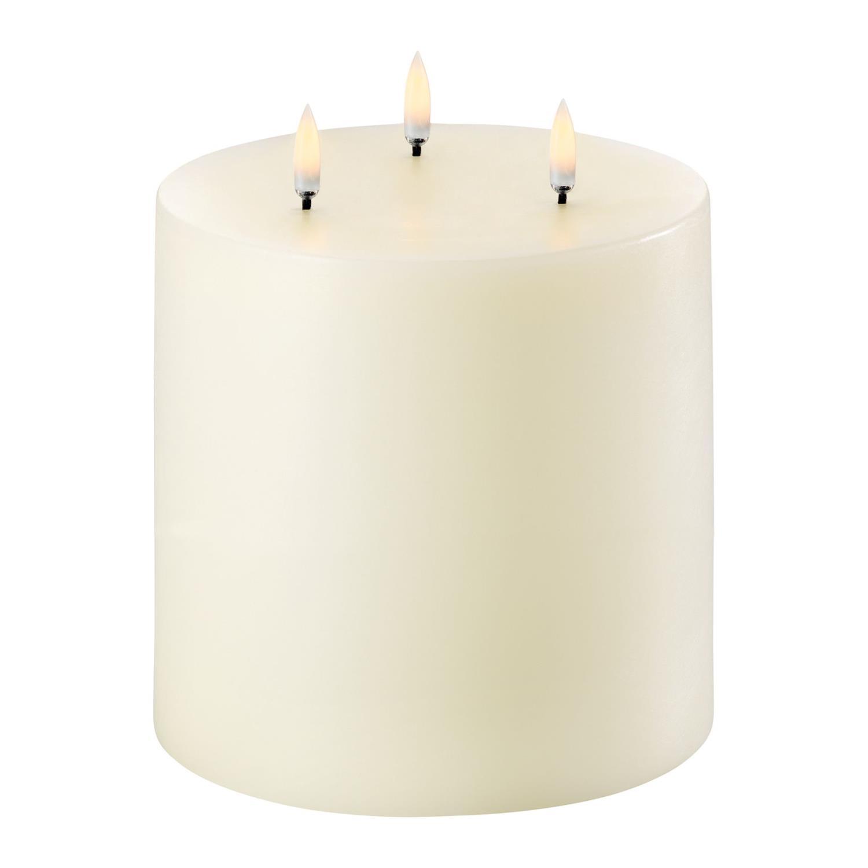 Triple Flame LED Pillar Candle | Ivory | Ø15 x 15 CM