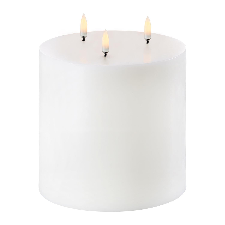 Triple Flame Led Pillar Candle | Nordic White | Ø15 x 15 cm