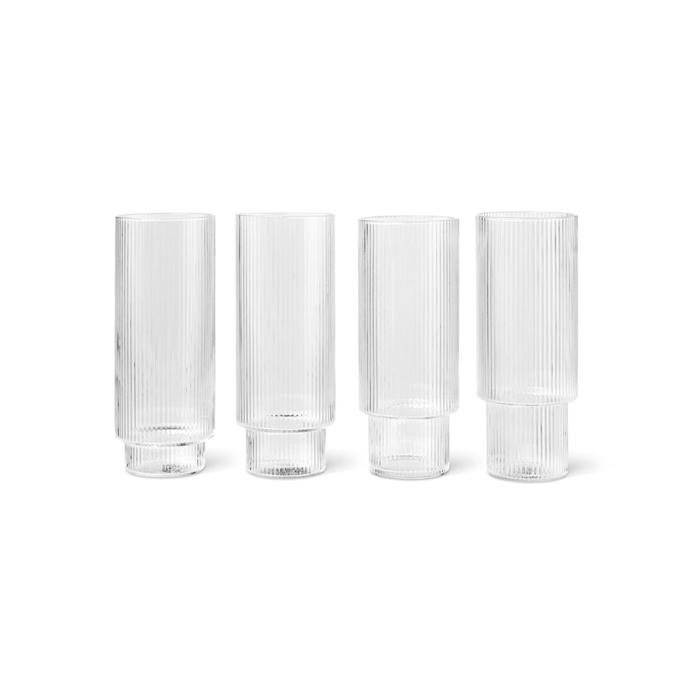 Ripple Long Drink Glass | 4stk sett