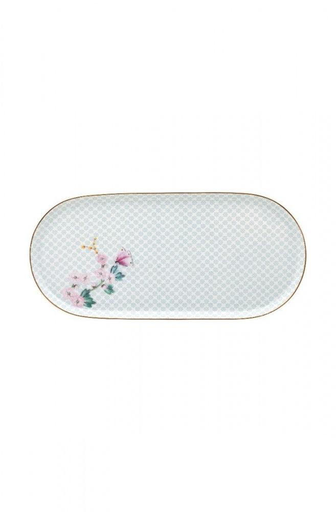 Kakefat ovalt hvit 25x12 cm