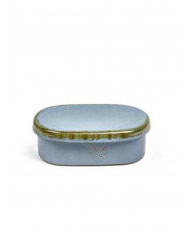 Smørboks Smokey blue oval 14,5x8,5 H5