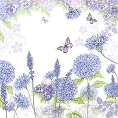 Kaffe servietter purple wildflowers 25x25
