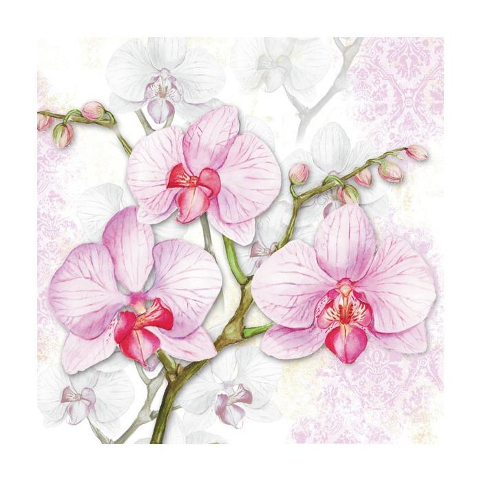 Kaffe servietter orchids lilac 25x25