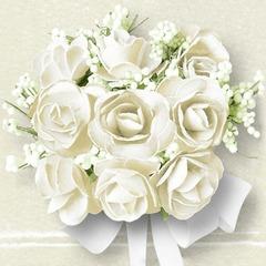 Kaffe servietter white roses 25x25