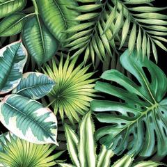Lunsj servietter tropical leaves black 33x33
