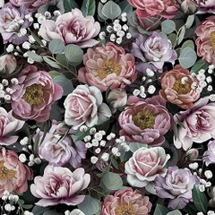 Lunsj servietter vintage flowers black 33x33