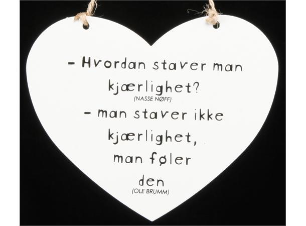 Metallskilt hjerte stave kjærlighet