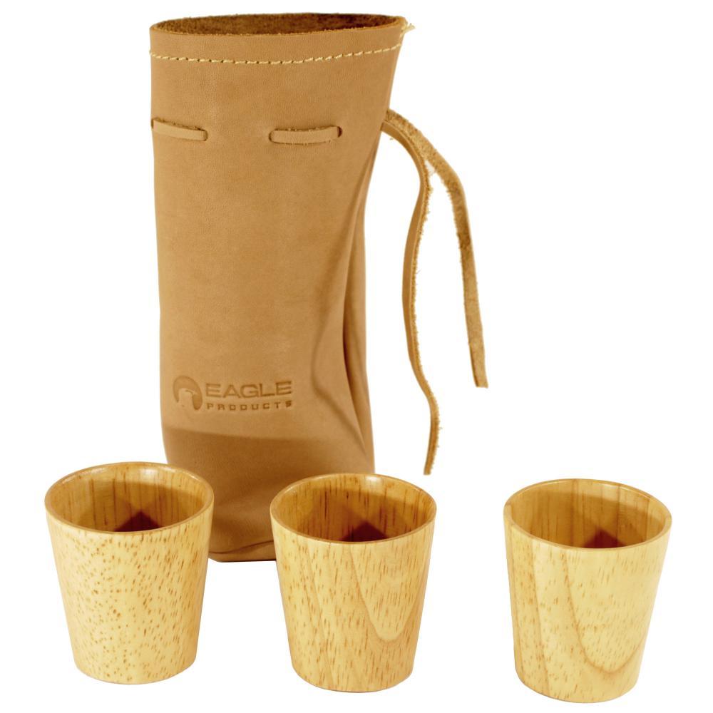 Eagle Products  3 stk drammeglass i tre i lærpose