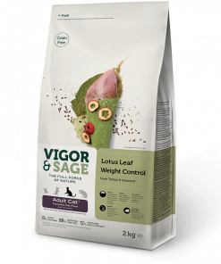 Vigor&Sage Lotus Leaf, Weight Control, Adult Cat, 2kg.